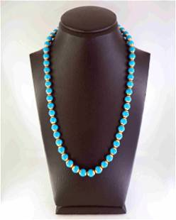 Turquoise and 18K gold necklace