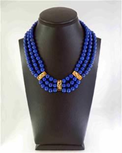 Egyptian style - lapis lazuli and 18K gold necklace