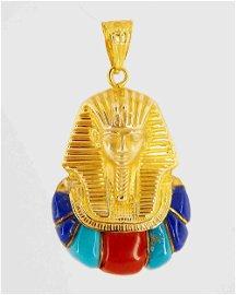 Egyptian Jewelry - 18K Gold Tutankhamun Pendant