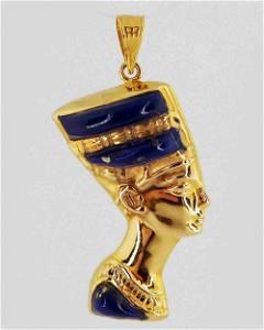 Egyptian jewelry - 18K gold Nefertiti pendant