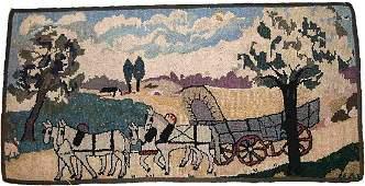 Handmade antique American hooked rug 1.10' x 3.9' (