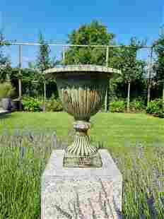 Cast iron planter - Green cast iron garden vase