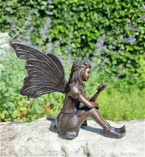 Bronze garden fairy - little bronze elf - Bronze fairy