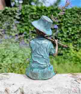 Bronze garden figure - Boy playing the flute - cottage