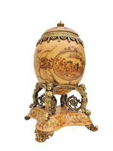Fabergé style porcelain egg with bronze ornaments