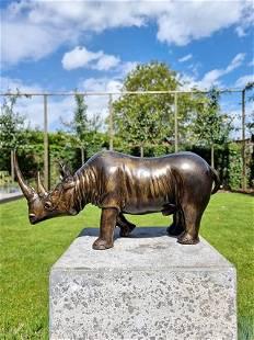 Bronze sculpture of a rhinoceros - Bronze animals -