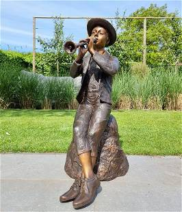 Bronze garden sculpture / fountain - Boy with flute -