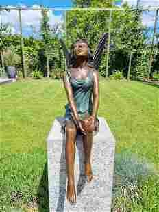 Beautiful bronze angel - Garden fairy - Bronze outdoor