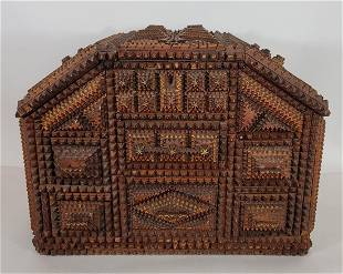 Exceptional American tramp art case of drawers ca