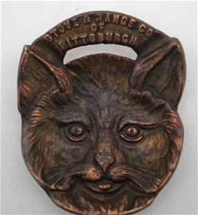 Advertising Cat Brass Tip Tray or Desk Accessory