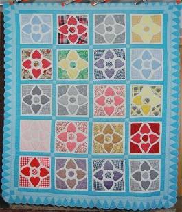 40's Hearts Applique Quilt, Petal Border