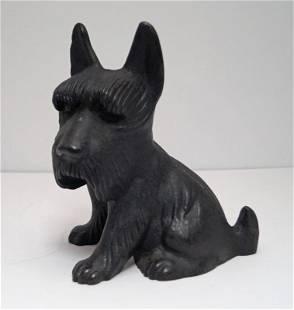 """Large Sitting Scottie Dog """"Fala"""" Cast Iron Doorstop"""