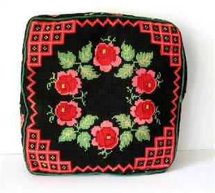 Vintage Pa Mennonite Hand Made Seat Cushion