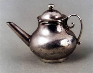 English silver dolls house miniature teapot by David