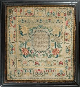 """""""LORDS PRAYER"""" SAMPLER BY AN EIGHT YEAR OLD IN 1743"""