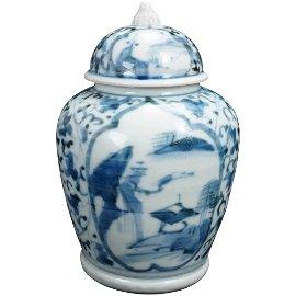 17th/18th C Japanese Edo Arita Blue White Lidded Jar