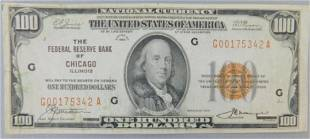 1929 $100 NATIONAL CURRENCY, THE FEDERAL RESERVE BANK