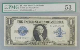 1923 $1 SILVER CERTIFICATE BLUE SEAL PMG About