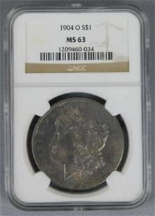 One Lot of 1902-O MSD 62 & 1904-O NGC 63 $1 Morgan