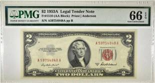 1953A $2.00 RED SEAL LEGAL TENDER NOTE PMG-66 EPQ