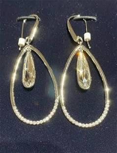New Swarovski Lisanne Hoop Pierced Earrings, White,