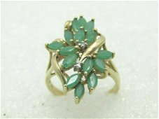 10kt Colombian Emerald & Diamond Ring, Cluster,1.05