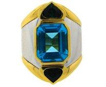 MARINA B Gemstones Gold Band RING Blue Topaz Vintage