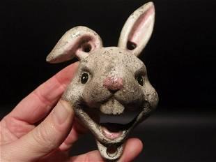Cast Iron folk art Rabbit Wall mount Bottle Opener
