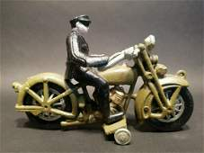 Cast Iron Toy Motorcycle Police Patrol Rider