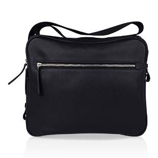Hermes Hebdo Reporter Messenger Bag Black Evergrain