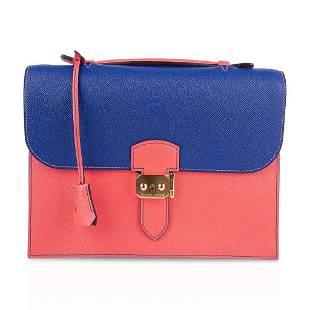 Hermes Sac a Depeche 27 Bag HSS Electric Blue / Rose