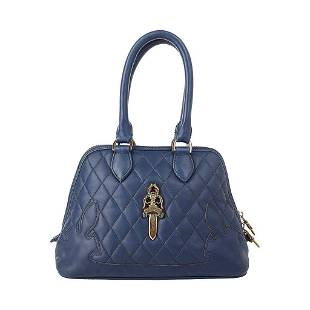 Chrome Hearts Bag Quilted Navy Sterling Silver Hardware