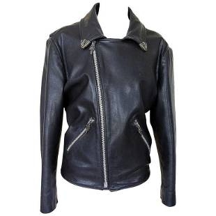Chrome Hearts Leather Jacket Sterling Silver Hardware M