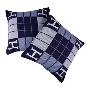 Hermes Cushion Avalon III Blue Small Model Throw Pillow