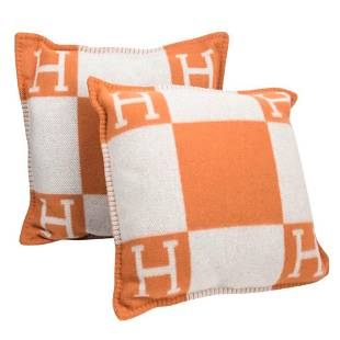 Hermes Cushion Avalon I PM H Orange Throw Pillow Set of