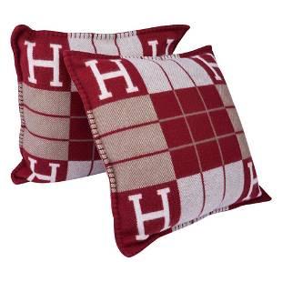 Hermes Cushion Avalon III Rouge H / Ecru Small Model