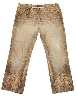 Roberto Cavallo Beige Snake Print Jeans