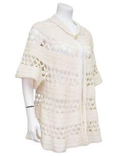 Anonymous Cream Wool Knit Boho Crochet Swing Cardigan