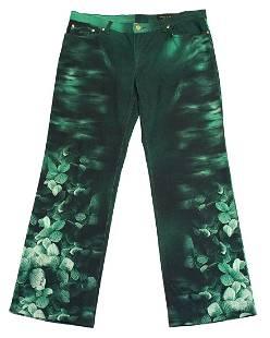 Roberto Cavallo Green Floral Jeans