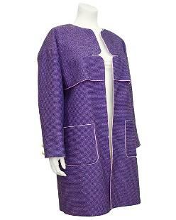 Chanel Purple Spring 2013 Tweed Open Front Coat