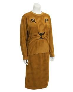 Krizia Krizia Brown Lion Face Knit Set