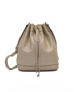 Mark Cross Mark Cross Taupe leather drawstring bag