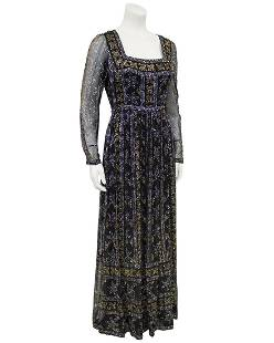 Malcolm Starr Malcolm Starr Black Chiffon Gown with