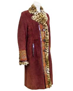 Etro Etro Burgundy Suede & Paisley Coat With Stencilled