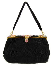 Anonymous Black Beaded Evening Bag With Cameos