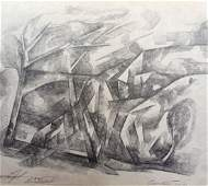 Abstract pencil painting Urban landscape Peter Tovpev