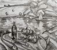 Pencil painting Fruit on the shore Peter Tovpev