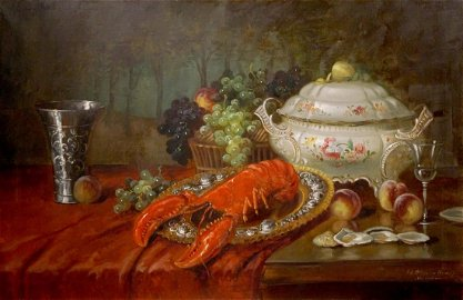 Oil painting Shrimp on the table Eduard Huber-Andorf