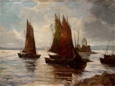 Oil painting Fleet of ships Woseker A.