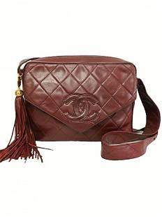 """""""CHANEL"""" Exclusive vintage """"Matelasse"""" bag in burgundy"""